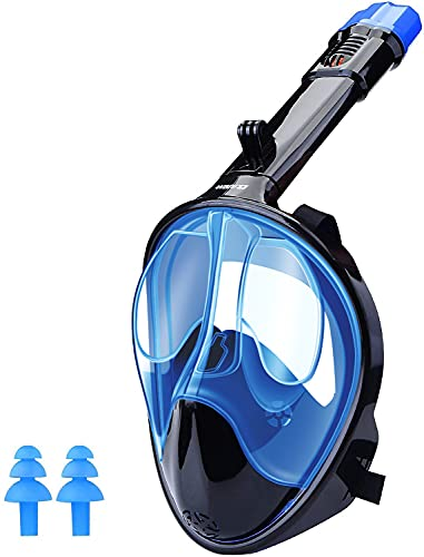 WANFEI Schnorchelmaske Vollmaske Tauchmaske,Neuestes Fortschrittliches Sicherheitsatmungssystem Vollgesichtsmaske mit 180° Sichtfeld und Kamerahaltung (Blau, L/XL)