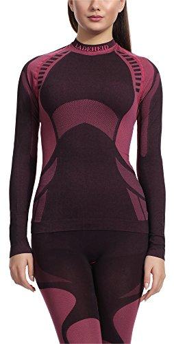 Ladeheid Damen Funktionsunterwäsche Langarm Shirt Thermoaktiv (Schwarz/Rot, S)