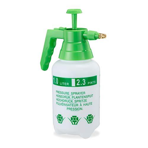 Relaxdays Pumpsprühflasche, einstellbare Messingdüse, Pflanzen Bewässerung, Schädlingsbekämpfung, 1l Drucksprüher, grün