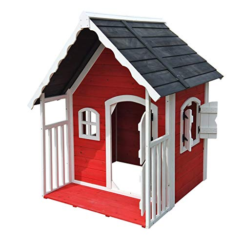 Spielhaus für Kinder aus Holz mit Veranda, Fenstern und Doppelflügeltür