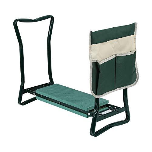 wolketon Garten Kniebank Gartenhocker und Sitz, faltbar, weich, Gartenhocker mit Werkzeugtaschen und Eva-Kniepolster 150kg Belastbar