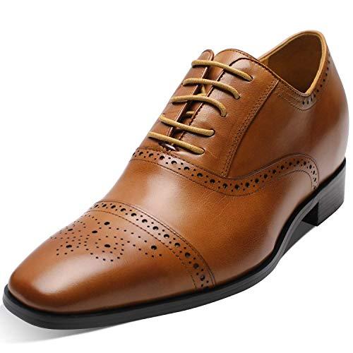 CHAMARIPA Elevator Shoes Echtes Leder Höher Herren Schuhe Oxford Aufzug Schuhe Schnürhalbschuhe Geschäft Anzugschuhe, 7cm Höhe Erhöhte Lederschuhe Smoking Hochzeit Schuhwerk (45 EU, braun)