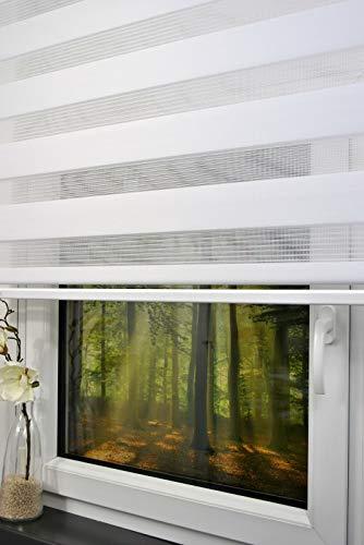 kskeskin Duo Rollo Doppelrollo mit Alukassette Breite 120 cm Länge 250 cm (Decke bis Boden) in Farbe weiß mit breiter Beschwerung