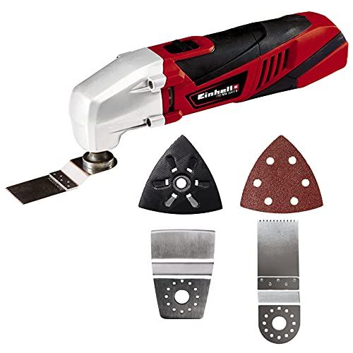 Einhell Multifunktionswerkzeug 4465095(220 Watt, Drehzahl-Elektronik, Softgrip, magnetische 4-Pin-Werkzeugaufnahme, inkl. Staubabsaugadapter, Dreieckschleifplatte, 1x Schleifpapier), Rot