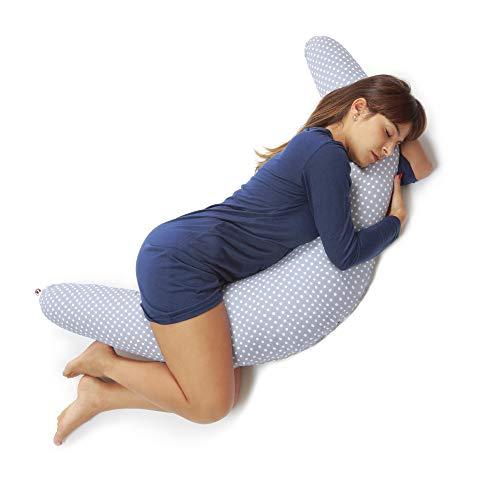 Niimo Stillkissen Schwangerschaftskissen zum schlafen groß XXL erwachsene mit Bezug aus 100% Baumwolle für Mutter und Baby (Grau-Weiße Punkte)