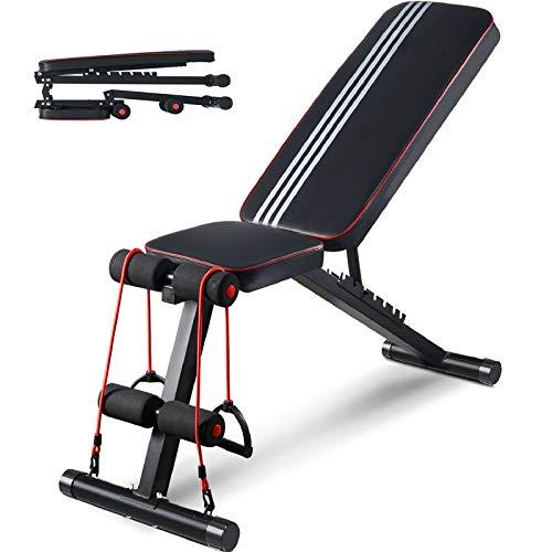 Aebow Hantelbank, verstellbar, faltbar, für Zuhause, Fitnessstudio, Workout, Hantelbänke, Fitness-Set, flache Neigung, für Hebeübungen, Ganzkörper-Krafttraining, 2. Generation