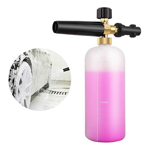 Qooltek Einstellbare Schaumkanone 1 Liter Flasche Schneeschaumlanze Seifenspender Düse für Karcher K Serie K2 / K3 / K4 / K5 / K6 / K7 Hochdruckreiniger