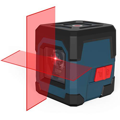 Kreuzlinienlaser, RockSeed Selbstnivellierend Linienlaser 15M ± 0,2 mm/m, 360° Umschaltbar Vertikale/Horizontale Roter Laser IP54 Staub & Wasserschutz inkl. 2*AA Batterien & Schutztasche - LV1