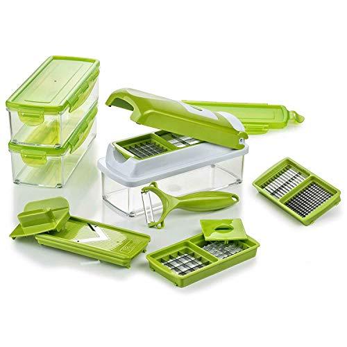 Genius Nicer Dicer Smart (14 tlg.) in Kiwi - Gemüseschneider für Würfel, Stifte, Scheiben, Streifen und Viertel inkl. Rezeptheft - Salatschneider Mandoline Gurkenhobel