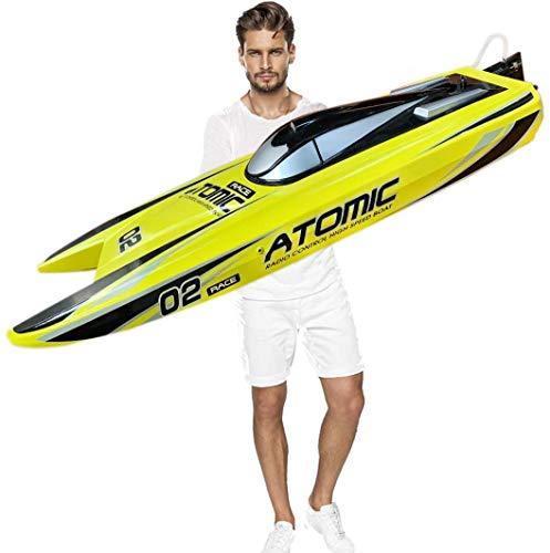 SOWOFA 27,6-Zoll-Fernbedienung Speedboat Racing S011 RC-Boot 65 km / h Brushless-Motor Ausgezeichnete Funktionen für Hobbyspieler Erwachsene Jungen ab 14 Jahren Gelb / Rot