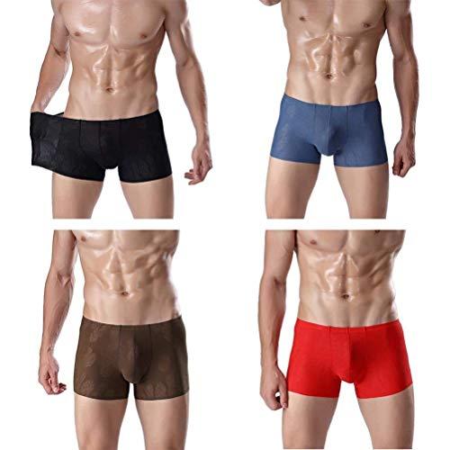 Perspektive Elastisch EIS Seide Nahtlos Atmungsaktiv Herren Unter Wärmen Sche Kleidung U Konvexen Beutel Jugend Boxershorts 4 (Color : A, Size : L)