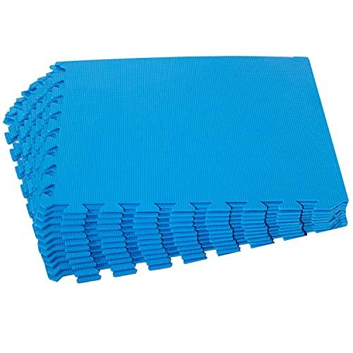 Poolunterlegmatte blau 50x50x0,5 cm - 60 Stück - 14,5 m² - mit Rand - Eva - Stecksystem Puzzelmatte - Fitness Sportmatte Trainingsmatte