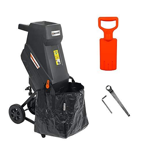 DELTAFOX Elektro Messerhäcksler - DG-EKS 2445-2400 W - inkl. 45 ltr Fangsack - 12 kg leicht - Laufräder mit Radabdeckung - Gartenhäcksler für 45 mm Äste - Schredder