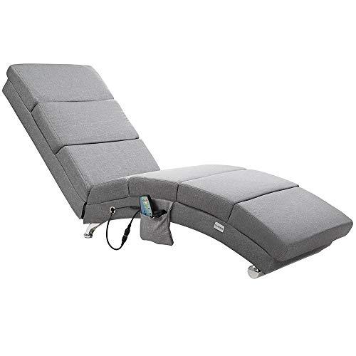 Casaria Relaxliege London mit Massage- & Heizfunktion Stoff Grau Ergonomisch Wohnzimmer Liegesessel Relaxsessel Liege