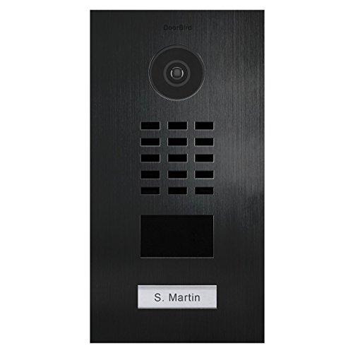 Türstation mit Kamera und Türöffner DoorBird D2101V V4A Edelstahl Titan-Optik 1 Ruftaste IP Video Türsprechanlage