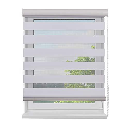 Fensterdecor Doppel-Rollo mit Aluminium-Kassette, Rollo für Fenster mit seitlichem Kettenzug, Seitenzug-Rollo mit Blende in Weiß für Innen-Bereich, lichtdurchlässig u. verdunkelnd, 160 x 180 cm
