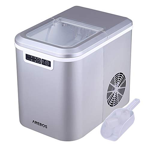 AREBOS Eiswürfelmaschine | 12kg/24h | 8 Minuten Produktionszeit | 2 Eiswürfel-Größen | 2.2L |Eiswürfelbereiter | Leise | ohne Wasseranschluss