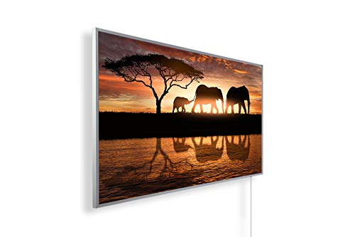 Bild Infrarotheizung (130W/300W/450W/600W/800W/1000W) mit 5 Jahren Garantie (1000, Elefantenfamilie im Sonnenuntergang)