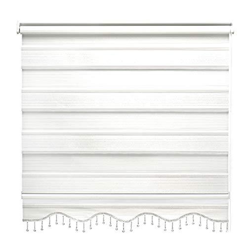 Doppelrollo Weiß Silber Glitzer Duorollo Klemmfix Gardinen für Fenster Tür Rollo 200 x 200 cm
