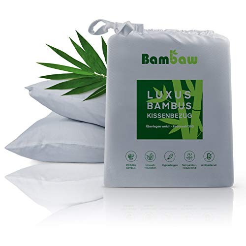 Bambaw Bambus Kissenbezüge   Pillow Cover   Bambus Kissen Bezüge   Temperaturregulierend   Anti Allergie Kissenbezug   Atmungsaktiver Stoff   Grau   40x80