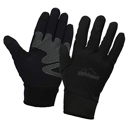 gipfelsport Wanderhandschuhe für Herren und Damen - Touchscreen Handschuhe für Smartphone und Handy I Größe L | Logo Schwarz