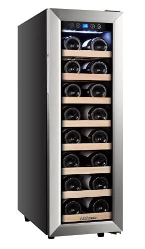 Kalamera Klein Weinkühlschrank,Kompressor Weintemperierschrank Eine Zone mit 21 Flaschen,75 Liter,Edelstahl Glastür,Temperaturzonen 5-18 °C,Freistehend,KRC-75ASS