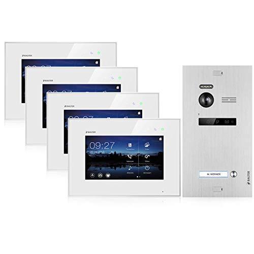 BALTER EVO Video Türsprechanlage ✓ 4 x Touchscreen 7 Zoll Monitor ✓ 2-Draht BUS ✓ Türstation für 1 Familienhaus ✓ 1 Türklingel ✓ 150° Weitwinkel-Kamera