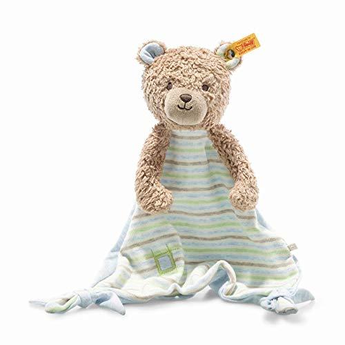 Steiff 242229 Teddybär Rudy Schmusetuch, Kuscheltuch 28 cm, Spielzeug für Babys und Kleinkinder, waschbar, blau, blau