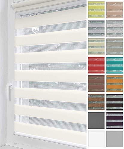 Home-Vision® Duo Rollo Klemmfix, Doppelrollo ohne Bohren mit Klämmträgern, Rollos für Fenster und Türen (Weiß, B40cm x H150cm)