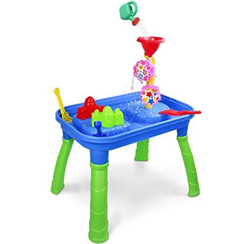 Sand Wasserspieltisch Strandspielzeug Kinder Spieltisch Sandspielzeug Set für ab 3 Jahren Mädchen und Jungen Tisch