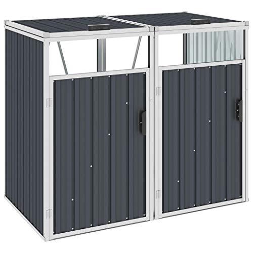 vidaXL Mülltonnenbox für 2 Mülltonnen Klappdeckel Mülltonnenverkleidung Müllbox Müllcontainer Gartenbox Gerätebox Anthrazit 143x81x121cm Stahl
