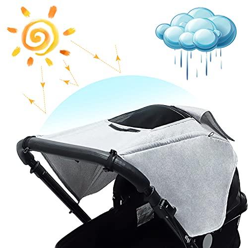 Universal Kinderwagen Sonnensegel mit UV Schutz 50+ und Wasserdicht mit Sichtfenster und Seitenflügel,Sonnenschutz für Kinderwage, UV Schutz für Buggy,Grau