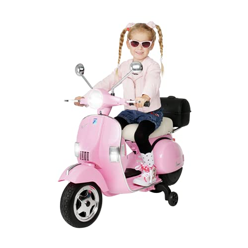 Actionbikes Motors Kinder Elektroroller Vespa PX150 - Lizenziert - 2x18 Watt Motor - Eva Vollgummi Reifen (Pink)