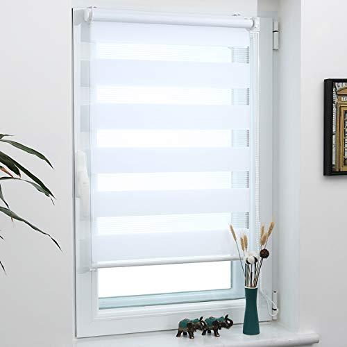 Grandekor Doppelrollo Klemmfix, Duo Rollos für Fenster und Tür ohne Bohren, Fensterrollo lichtdurchlässig & verdunkelnd - Weiß 75x120cm (Stoffbreite 71cm)