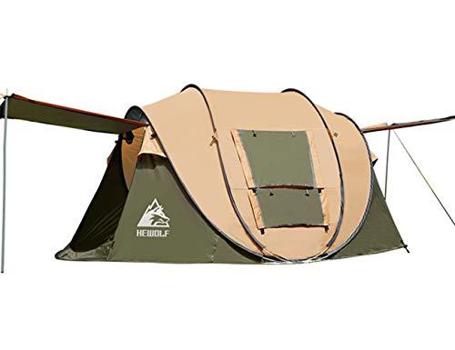 HEWOLF Wurfzelt 2-3 Personen Wasserdicht Pop Up Camping Zelt Automatische Ultraleichtes Familienzelt Sekundenzelt Sonnenschutz Cabana Strandzelt für Outdoor Camping Festival, Großes Braun
