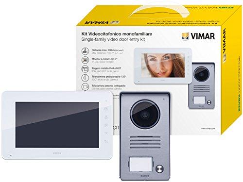 Vimar K40910 Videosprechenalagen-Set enthält Freisprech-Videohaustelefon LCD 7in, 1-Taste Klingeltableau mit Regenschutz, Netzgerät 24Vdc 1A mit austauschbaren Steckern EU BS US AU Standard