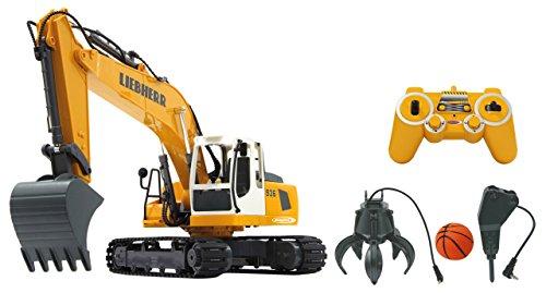 JAMARA 405112 - Bagger Liebherr R936 1:20 2,4G Destruction-Set - inklusiv Schalengreifer und Abbruchhammer, Metallschaufel, jedes Gelenk einzeln steuerbar, realistische Funktionen,660 Grad Turmdrehung