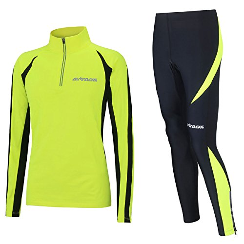 Airtracks Winter Funktions Laufset/Thermo Laufhose Lang Pro + Thermo Laufshirt Langarm Pro - schwarz-neon - M - Herren