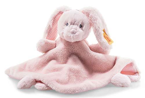 Steiff Soft Cuddly Friends Belly Hase Schmusetuch - 26 cm - Kuscheltier für Babys - weich & waschbar - rosa (241901)