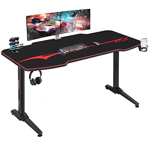 EUREKA ERGONOMIC Gaming Tisch mit RGB P55 PC Tisch Gaming Schreibtisch PC Schreibtisch mit Getr/änkehalter und Kopfh/örerhaken Leistungsstarkes Kabelmanagement schwarz