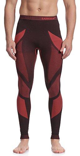 Ladeheid Herren Funktionsunterwäsche Lange Unterhose Thermoaktiv (Schwarz/Rot, XXL)