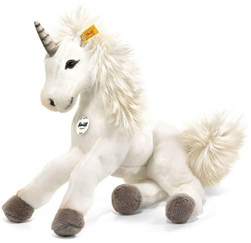 Steiff Starly Einhorn - 35 cm - Schlenkertier für Kinder - Plüscheinhorn - weich & waschbar - Unicorn weiß (015045)