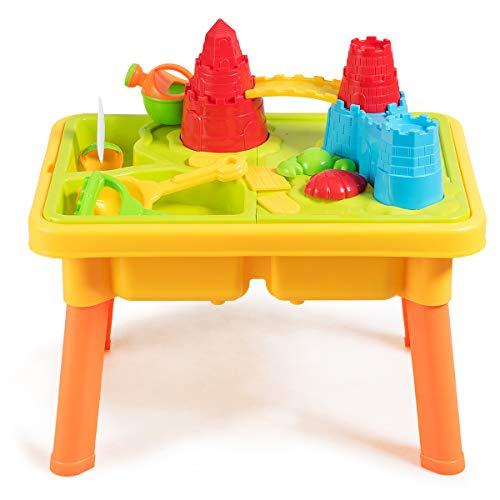 COSTWAY 2-in-1 Sand- und Wasserspieltisch, 21 teiliger Sandkastentisch für Kinder, Kinderspieltisch, Strandspielzeug-Set, Sandkasten Spielzeug für den Innen- und Außenbereich
