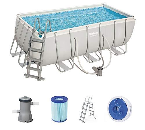 Bestway Power Steel Frame Pool Set viereckig, mit Kartuschenfilterpumpe und Leiter, 412x201x122 cm, grau