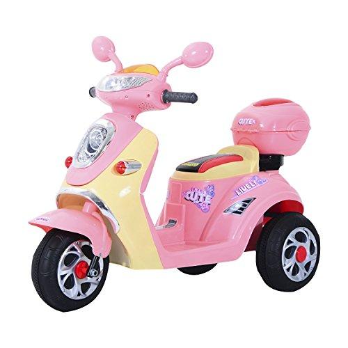 HOMCOM Elektro Kindermotorrad Elektromotorrad Kinderelektroauto Kinderfahrzeug Dreirad, 6V, Metall+PP, 108x51x75cm (Rosa+Gelb)