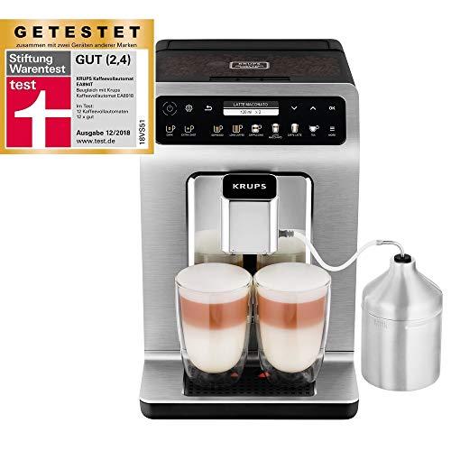 Krups Evidence Plus Kaffeevollautomat 15 bar, 1450 W, Milchschaum-System, automatische Reinigung, 2-Tassen-Funktion, Edelstahl, OLED Display, Direktwahltasten, Espresso-Kaffee-Maschine, Kaffeeautomat