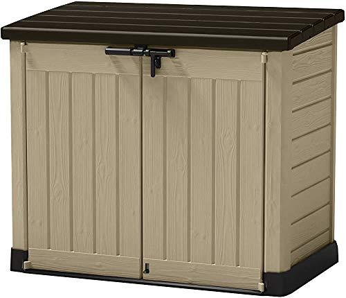 Multifunktionale Outdoor-Aufbewahrungsbox, 240L, Mülltonnenbox aus Kunststoff, für Gartenlaube, 145,5 x 82 x 125 cm