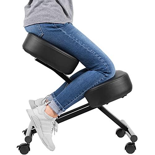 DRAGONN ergonomischer Kniestuhl Sitzhocker & höhenverstellbarer Hocker mit Rollen für Zuhause und Büro – Anti Rückenschmerzen Stuhl für eine optimale Sitzhaltung mit weichem Sitzpolster
