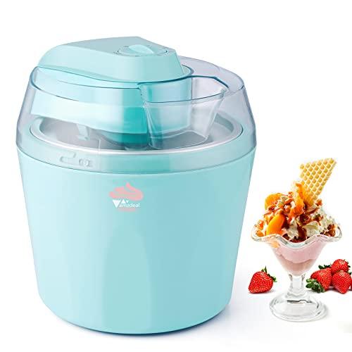 Amzdeal Eismaschine 1,5L, Speiseeisbereite mit 30min Timer & transparentem Deckel, automatische Eiscreme Machine für DIY hausgemachtes Gelato, für Frozen Yoghurt, Ice Cream & Sorbet, BPA-frei, Blau