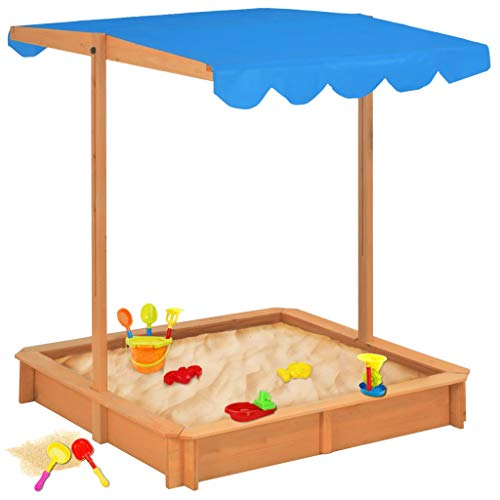 vidaXL Tannenholz Sandkasten mit Schwenkbarem Höhenverstellbarem Dach Sandkiste Sandbox Kindersandkasten Kinder Spielhaus Garten UV50 UV Schutz Sonnenschutz